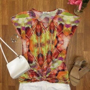 Cato Printed Short Sleeve Top